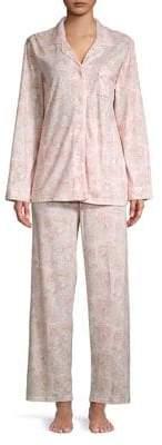 Miss Elaine Two-Piece Piped Paisley Pajamas Set