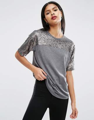 ASOS T-Shirt with Sequin Yoke in Boxy Fit $34 thestylecure.com