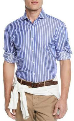 Brunello Cucinelli Men's Wide-Striped Dress Shirt