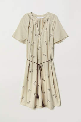 H&M Dress with Embroidery - Beige