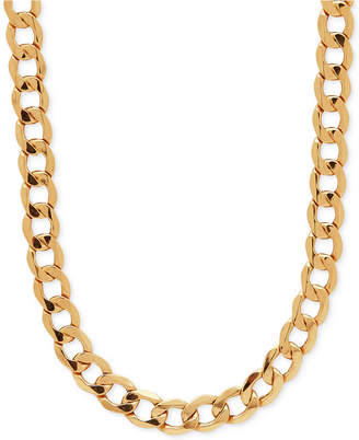 """Italian Gold 22"""" Curb Link Chain Necklace (7mm) in 10k Gold"""