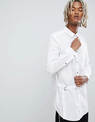 Asos DESIGN longline shirt with strap detail in white