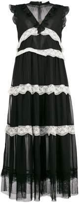 Three floor flared ruffled dress