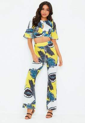Missguided Yellow Tropical Floral Print Trouser Co Ord Set