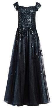 Rene Ruiz Off-The-Shoulder Sequin A-Line Gown