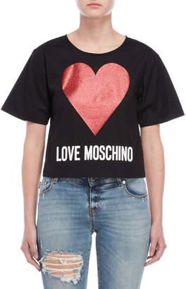 Love Moschino Black Glitter Heart Top
