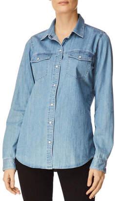 J Brand Perfect Denim Button-Front Long-Sleeve Shirt