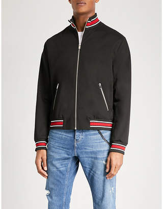 The Kooples Panther-embroidered stretch-cotton bomber jacket