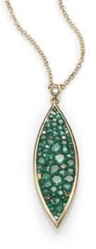 Marquis Pleve Verde Tsavorite, Diamond& 18K Yellow Gold Pendant Necklace