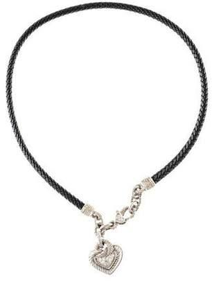 Judith Ripka 18K Diamond Leather Heart Pendant Necklace