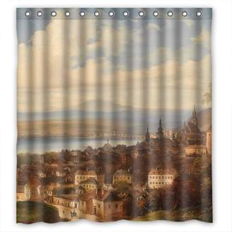 Camilla And Marc Sagatek Beautiful Scenery Landscape Painting Polyester Shower Drape Width X Height / 72 X 72 Inches / W * H 180 By 180 Cm For Father Him Kids Girl Boys Kids Boys. Eco Friendly. Fabric Mate