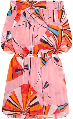 Emilio Pucci - Off-the-shoulder Printed Cotton-voile Mini Dress - Bright orange $790 thestylecure.com