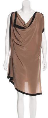 Gold Hawk Draped Knee-Length Dress