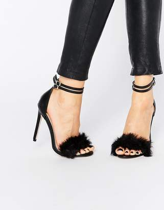 Little Mistress Monroe Faux Fur Ankle Strap Heeled Sandals