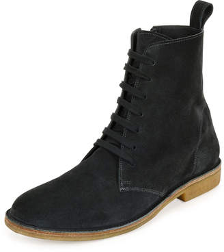 Bottega Veneta Suede Lace-Up Boots, Gray