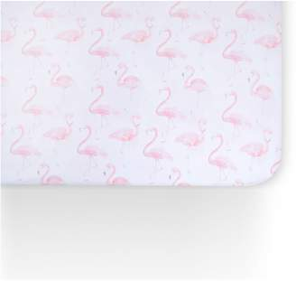 OILO Flamingo Print 300 Thread Count Fitted Crib Sheet