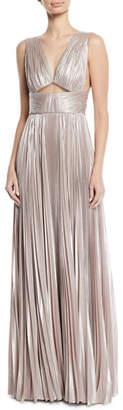 J. Mendel V-Neck Cutout-Waist Plisse Column Evening Gown