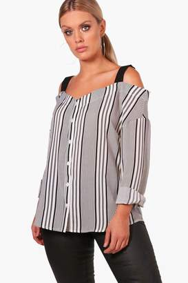 boohoo Plus Contrast Stripe Cold Shoulder Blouse
