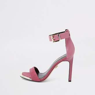 River Island Pink faux suede barely there sandals