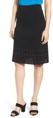 Ming Wang Pointelle Knit A-Line Sweater Skirt