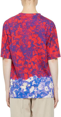 Abstract Multi Floral-Printed Crewnech Short-Sleeve Top