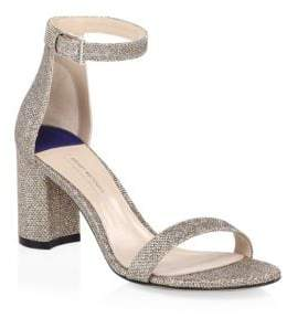 Stuart Weitzman 75LessNudist Metallic Woven Ankle-Strap Sandals