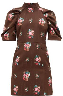 MSGM Open Back Floral Jacquard Dress - Womens - Brown Multi
