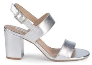 5450eaee753b Saks Fifth Avenue Erica Metallic Block Heel Sandals