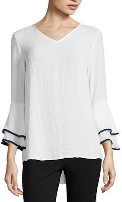 Liz Claiborne 3/4 Bell Sleeve V Neck Woven Blouse - Tall