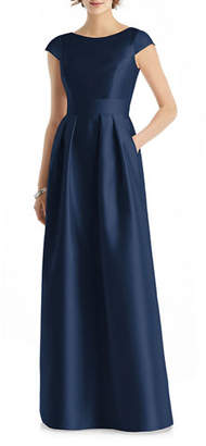 Alfred Sung Bateau-Neck Cap-Sleeve A-Line Sateen Twill Gown