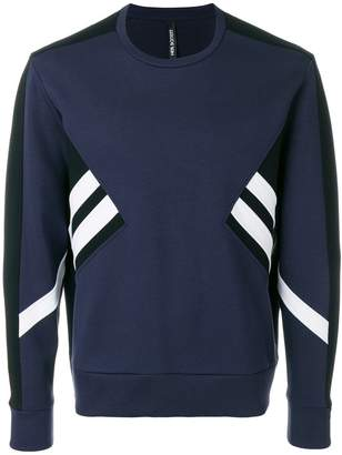 Neil Barrett stripe panelled sweatshirt