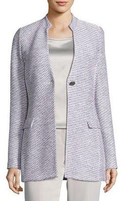 St. John Collection Gyan Knit V-Neck Jacket, White/Gray $1,495 thestylecure.com