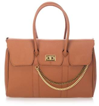 Castelli Massimo Chain Detail Leather Satchel Bag