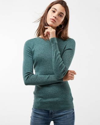 Express Marled Fitted Crew Neck Sweater