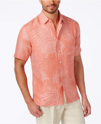 Tasso Elba Linen Leaf Jacquard Short-Sleeve Shirt, Only at Macy's $55 thestylecure.com