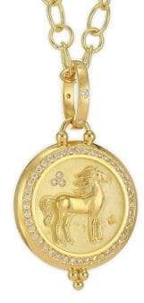 Temple St. Clair Diamond& 18K Yellow Gold Horse Coin Pendant
