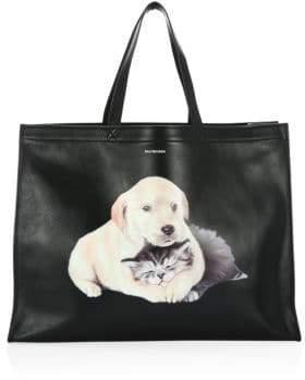 Balenciaga Leather Puppy& Kitten Shopper