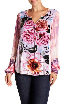 Hale Bob Patterned Velvet Split Neck Top