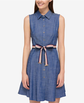 Tommy Hilfiger Cotton Belted Shirtdress, Only at Macy's $99.50 thestylecure.com