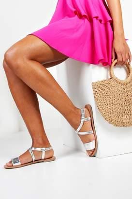 boohoo Wide Fit Flat Sandals