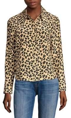 Rixo Jamie Leopard Print Silk Blouse