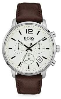 HUGO BOSS Attitude Stainless Steel& Brown Leather Strap Chronograph Watch