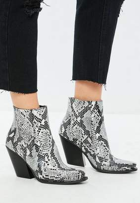 Missguided Gray Snake Print Curved Heel Western Chelsea Ankle Boots