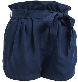 Frame Paperbag Waist Linen Blend Shorts - Womens - Navy