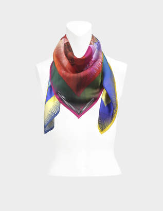 Christian Lacroix 90X90 Botanic Rainbow Square Scarf in Multicolour Silk Twill