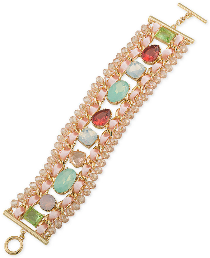 CaroleeCarolee Gold-Tone Multi-Stone and Ribbon Toggle Bracelet