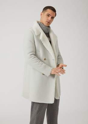 Emporio Armani Raw Cut Double-Breasted Sheepskin Coat