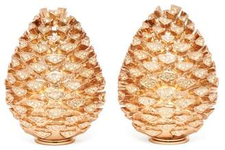 L'OBJET L'Objet Lobjet - Pine Cone 24kt Gold Plated Salt And Pepper Shakers - Womens - Gold