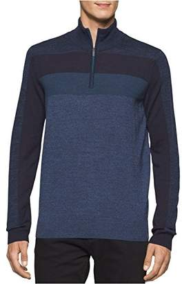 Calvin Klein Men's Merino Stripe Quarter Zip Sweater