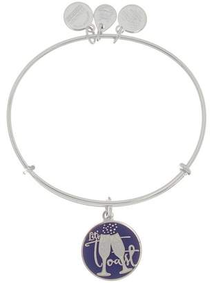 Alex and Ani Sterling Silver Let's Toast Charm Expandable Wire Bracelet